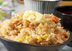 アラスカ産天然鮭のレシピ 醤油バターコーン炊き込みご飯